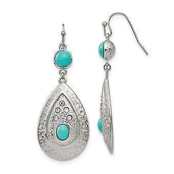 rustfritt stål polert hamret simulert turkis kubikk zirconia øredobber smykker gaver til kvinner