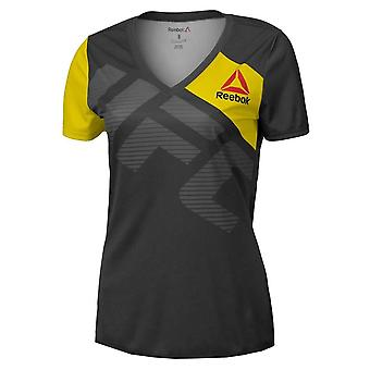Reebok UFC Fight Kit Womens Walkout MMA T-Shirt Tee Black/Yellow