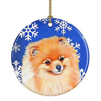 Carolines Treasures  LH9305-CO1 Pomeranian Winter Snowflake Holiday Ceramic Orna
