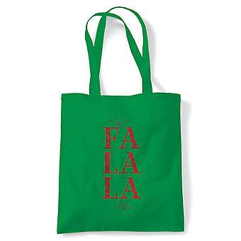 Fa La La Tote | Christmas Xmas HoHoHo Season Greetings Merry | Reusable Shopping Cotton Canvas Long Handled Natural Shopper Eco-Friendly Fashion