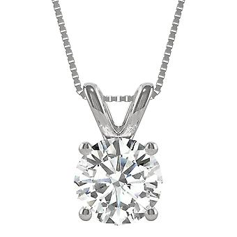 14K White Gold Moissanite by Charles & Colvard 9.5mm Round Pendant Necklace, 3.10ct DEW