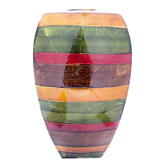 """10"""" X 6.75"""" X 17.75"""" Green Red Brown Copper Ceramic Lacquered Striped Modern Vase"""
