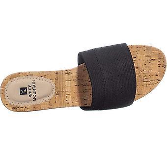 WHITE MOUNTAIN Womens Aleah Cork Wedge Sandals Black 10.5 Medium (B,M)