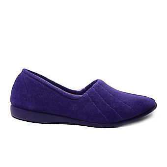 GBS Audrey Lilac Velour Womens Slip On Full Shoe Slippers