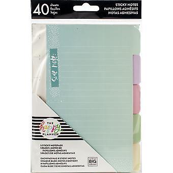 Happy Planner Sticky Notes 40/pkg-pastello, 5 disegni/8 ciascuno