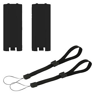 Battery cover & wrist strap kit for nintendo wii & wii u remote wireless controller - 4 in 1 pack black | zedlabz