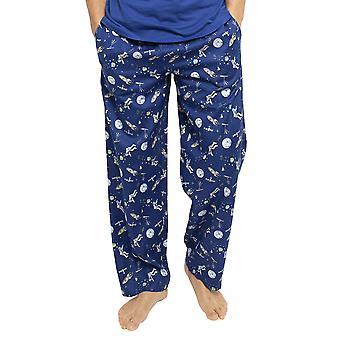 Cyberjammies 6432 Men's Buzz Blue Space Print Cotton Woven Pyjama Pant