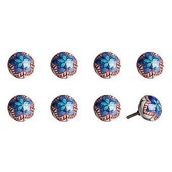 """1.5"""" x 1.5"""" x 1.5"""" Ceramic Metal Multicolor 8 Pack Knob"""