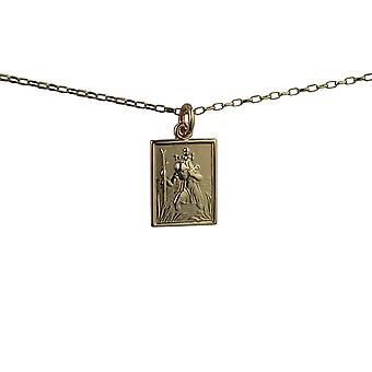 9ct Gold 19x14mm rectangular St Christopher Pendant with a 1.4mm wide belcher Chain 24 inches