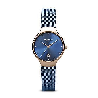 Uhr Bering 13326-368 - helles rosa gold Stahl Zifferblatt Dateur blau Stahl Armband blau Frauen