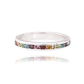 Ah! Jewellery Women's Channel Set Sterling Silver Radiant & Refined Rainbow Themed Eternity Band, Stamped 925