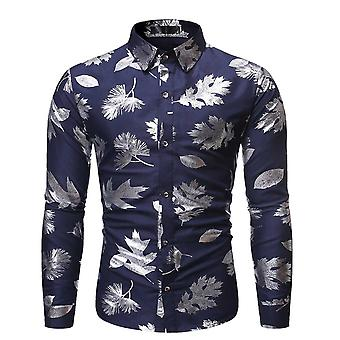 Allthemen Hombres's Camisa de vestir impreso Plata Hoja Impresión Camisas de Manga Larga