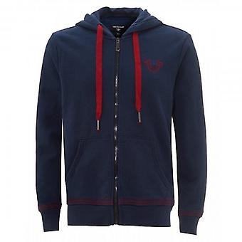 True Religion QT Stitch Zip Up Hoody Sweatshirt Navy 101729