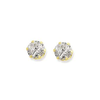 Eternity 9ct Gold 5mm Round Cubic Zirconia Stud Earrings