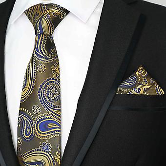 Bronze gold & navy blue paisley tie & pocket square set