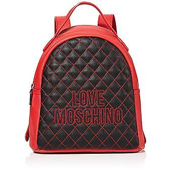 Liebe Moschino Pu Schwarz Damen RucksackTasche (schwarz/rot) 25x25x9cm (B x H x L)