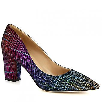 Women's handmade high heels pumps in multicolor fabric