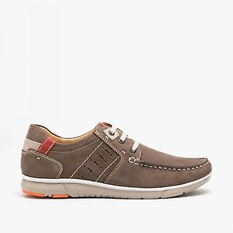 Roamers Richie Mens Nubuck Lace Up Boat Shoes Brown