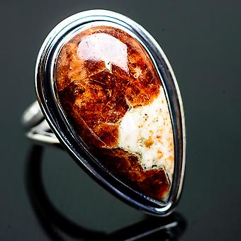 Large Muscovite Ring Size 8 (925 Sterling Silver)  - Handmade Boho Vintage Jewelry RING996288