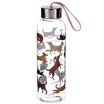 Puckator Catch patch perro botella de agua con tapa metálica