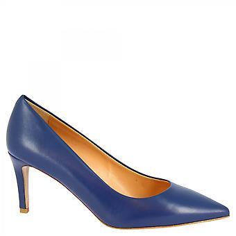 Leonardo Zapatos Mujeres's hecho a mano medio tacones zapatos azul napa cuero