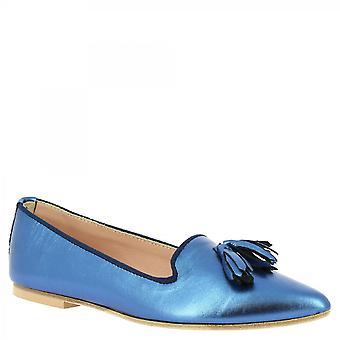 ليوناردو أحذية النساء & أبوس؛s مصنوعة يدويا شرابات شقق الباليه في الجلد مغلفة زرقاء