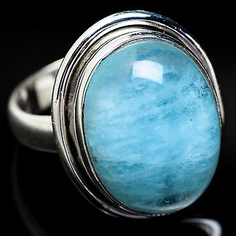 Natural Aquamarine Ring Size 6.5 (925 Sterling Silver)  - Handmade Boho Vintage Jewelry RING3774
