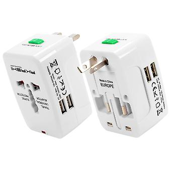 International Travel Adapter 2 USB Ports UK, USA, AUS, NZ, EU- Akashi, Black