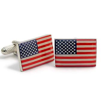 USA Flag Cufflinks by Onyx Art - Gift Boxed - American Stars and Stripes US