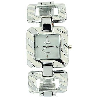 Taito London Ladies Mother Of Pearl Dial Silver & Cream Metal Square Link Watch