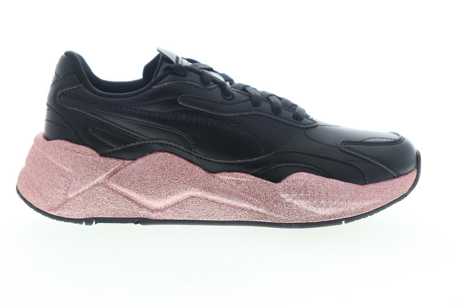Puma RS-X3 Glitz Kvinder Sort Læder Lace Up Low Top Sneakers Sko