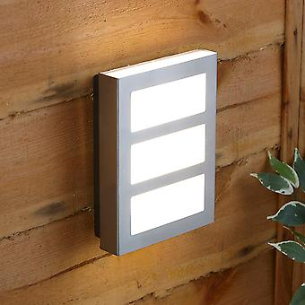 Biard Modern Square Silver Stainless Steel IP44 Outdoor Garden LED Wall Light