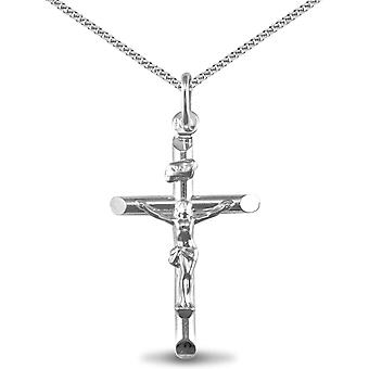 Jewelco London Sterling Silver crucifix Cross Pendant - 18 inch Chain