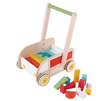 Classic World - Wooden Delivery Truck First Steps Baby Walker with Coloured Shaped Blocks