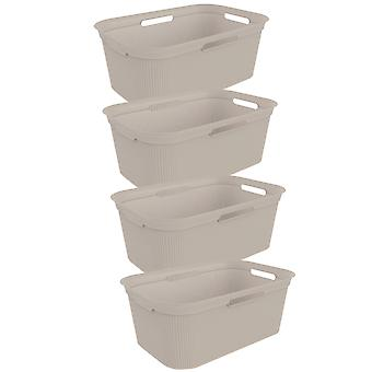 ROTHO set of 4 slingers BRISEN 41 l laundry basket tub strap stable with handles stackable 41 l modern design | Cappuccino