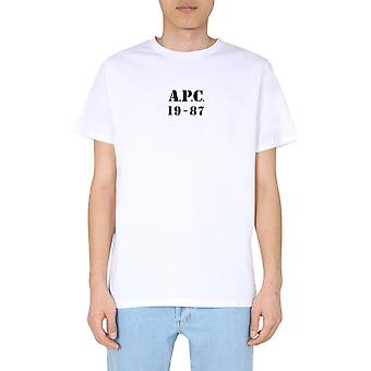 A.p.c. Codeuh26909aabblanc Uomini's T-shirt in cotone bianco
