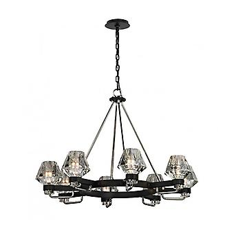Black Ceiling Light Loft 8 Bulbs 250 Cm