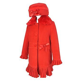 Ontwerper meisjes rode jas met afneembare bont kraag en Hat Set