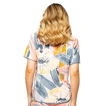 Cyberjammies Hallie 4515 Women's Peach Mix Abstract Print Pyjama Top