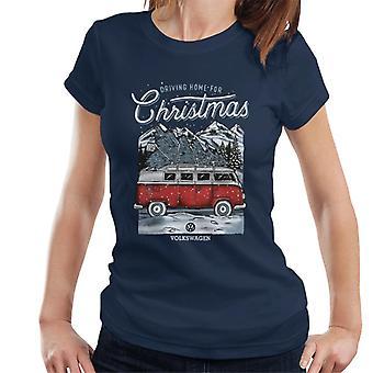 Volkswagen Driving Home Christmas Tree Camper Women's T-Shirt
