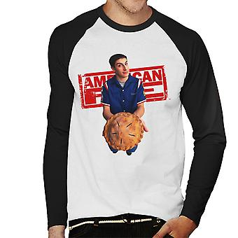 American Pie Jim Holding Pie Men's Baseball Long Sleeved T-Shirt