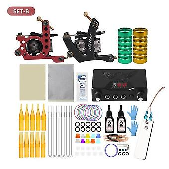 Coil Tattoo Machine Set Tattoo Power Supply Needles Professional Tattoo Machine Kit for Beginner