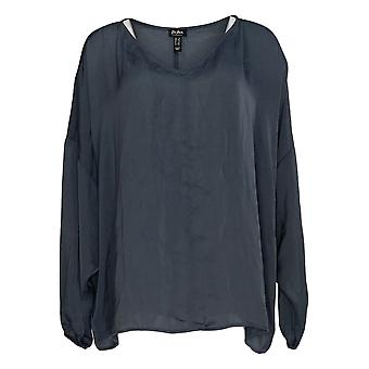 Du Jour Women's Plus Top V-Neck Drop Shoulder Blouse Grey A374142