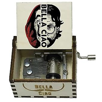 Bella Ciao & Professeur El - Alvaro Morte-apos; Hand Crank White Wooden Music Box