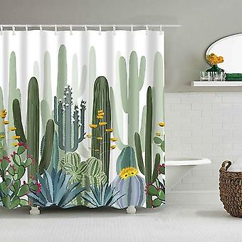 Tropical Cactus Shower Curtain Polyester Fabric Bath Curtain For The Bathroom