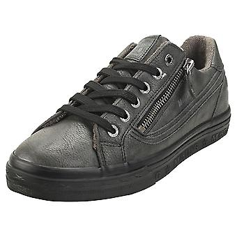 Mustang Low Top Side Zip Womens Fashion Trainers in Graphite