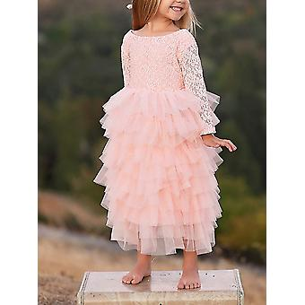 2Bunnies Girl Peony Lace Back A-Line Tiered Tutu Tulle Maxi Flower Girl Dress...
