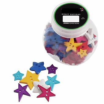 75g Mixed Size and Shade Buttons for Crafts - Stars