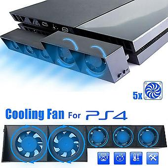 Ps4 Console Refrigerator Cooling Fan For Ps4 External Usb 5-fan Temperature Control For Playstation 4 Console