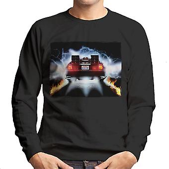 Back to the Future Delorean Taking Off For Time Travel Men's Sweatshirt